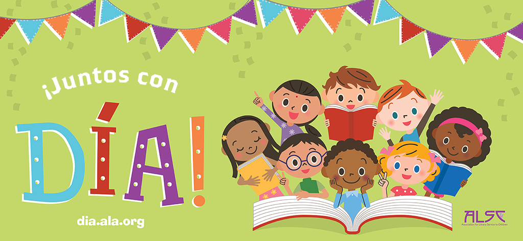 Cartel ¡Juntos con DÍA! con niños de diferentes culturas con libros.